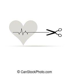 scissor, vetorial, batida coração