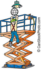 scissorlift safe - A man hanging from a scissor-lift