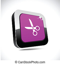 scissors 3d square button.