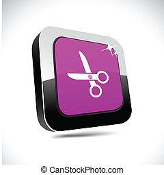 scissors 3d square button.