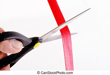 Opening - Scissors about to cut a red ribbon. Opening Action