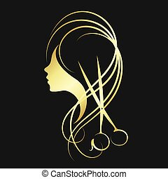 Scissors and a girl of gold color - Scissors and a girl with...