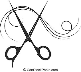 Scissors and beautiful curl hair silhouette