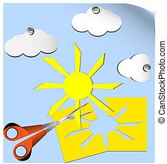 scissors and clouds