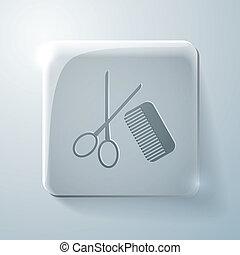 scissors and comb. barbershop