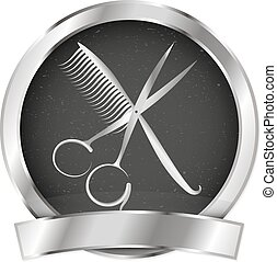 Scissors and comb for beauty salon and hairdresser vector