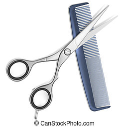 Scissors and comb for hair - Vector Scissors and Comb for...