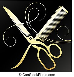 Scissors and comb golden curl hair symbol for a beauty salon