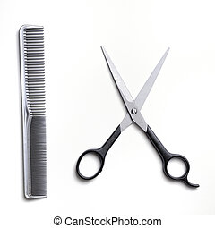 Scissors and comb gray barber isolated