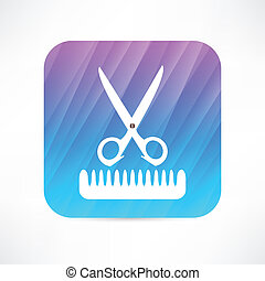 scissors and comb icon