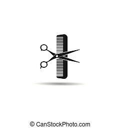 Scissors and comb logo vector icon illustration