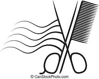 Scissors and comb silhouette