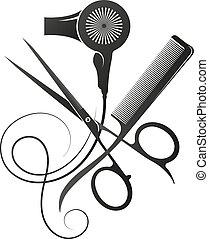 Scissors and comb stylist hair dryer symbol