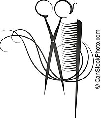 Scissors and comb vector - Scissors and comb symbol for...