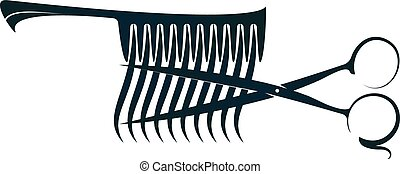 Scissors and comb with hair curls