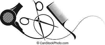 Scissors and comb with hair dryer silhouette