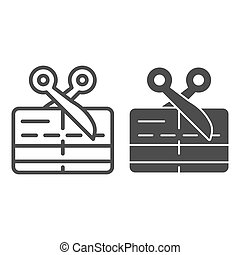 Scissors and credit card line and solid icon, Payment problem concept, Card declined sign on white background, bank card expired icon in outline style for mobile concept, web design. Vector graphics.