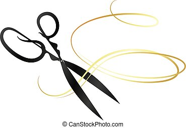 Scissors and golden curl hair