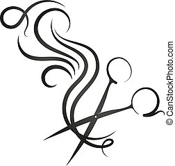 Scissors and hair curl - Scissors and curl hair symbol for...