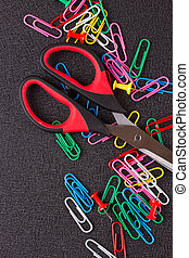 Scissors and paper clips