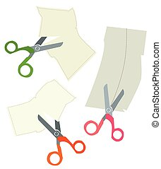 Scissors and paper coupons set - hand drawn design