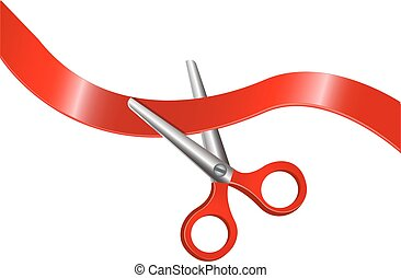 scissors and red ribbon - Scissors with red handles are...