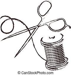 Scissors and thread silhouette
