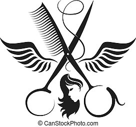 Scissors and wings symbol for beauty salon