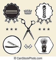 Scissors, barber pole, razor, combo, barber, shaving brush  symbol emblem label collection