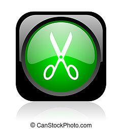 scissors black and green square web glossy icon