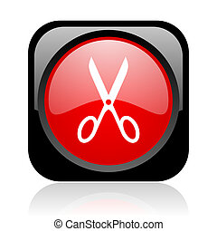 scissors black and red square web glossy icon