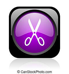 scissors black and violet square web glossy icon