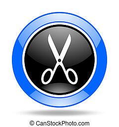 scissors blue and black web glossy round icon
