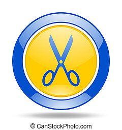 scissors blue and yellow web glossy round icon