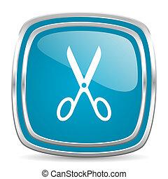 scissors blue glossy icon