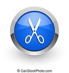 scissors blue glossy web icon