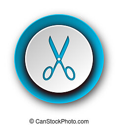 scissors blue modern web icon on white background