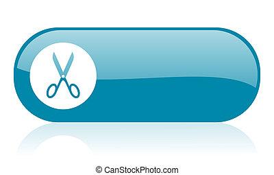 scissors blue web glossy icon