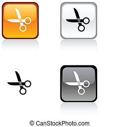 scissors button. - scissors glossy square vibrant buttons. .