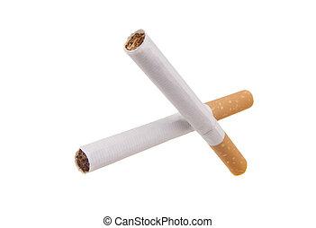 Scissors cigarettes isolated on white