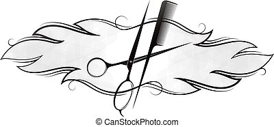 Scissors comb and curls hair symbol for beauty business