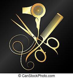 Scissors comb and hair dryer golden symbol