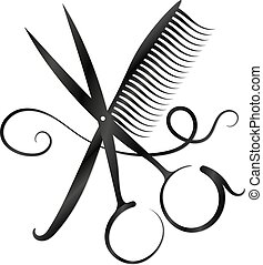 Scissors, comb and hair silhouette - Scissors, comb and hair...
