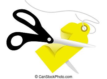 Scissors cut a retail business Price Tag