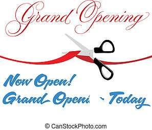Scissors cut grand opening today ribbon - Pair of scissors...