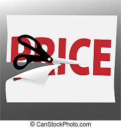 Scissors cut PRICE symbol on sale ad page - A pair of black...