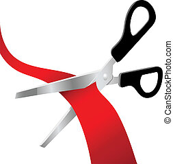 Pair of scissors cut a grand opening ribbon or red tape