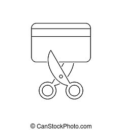 Scissors cut the credit card line icon on white background