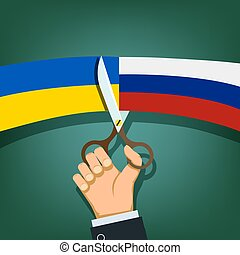 Scissors cut the flags of Russia and Ukraine.