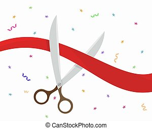 Scissors cut the red ribbon. Grand opening ceremony